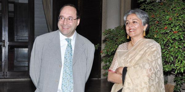 L'ing. Matteo Volpe e l'arch. Brinda Somaya durante l'evento istituzionale all'ambasciata italiana a New Delhi in India