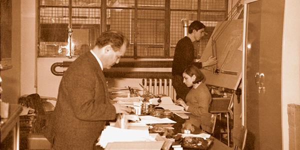 L'ingegnere nel 1966 nel primo ufficio della IGV a Milano