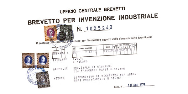 Uno dei primi brevetti industriali della IGV